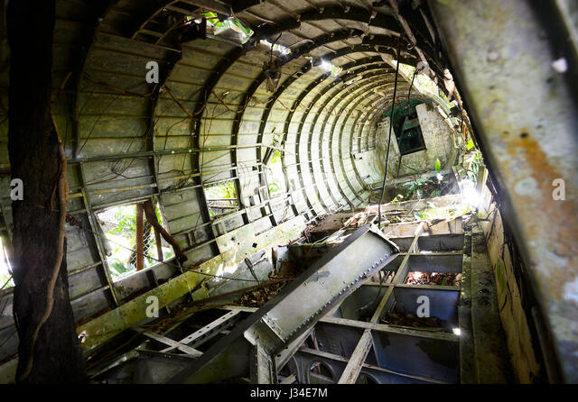 Inside the fuselage of a wrecked C-47 DL, a military version of a DC-3, seen at Heritage Market, Kuranda, Far North - Stock Image