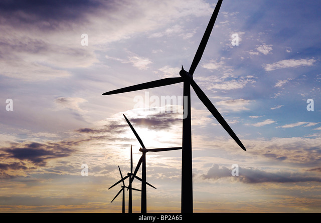 Wind Turbines, Watchfield, United Kingdom. - Stock Image
