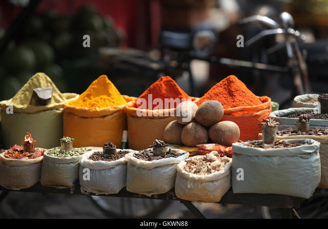 India, Delhi, Pahar Ganj, Spices on main bazar - Stock Image