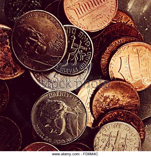 Close-Up Of Coins - Stock-Bilder