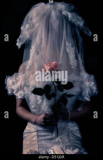 a bride with a pink rose and a veil in front of her face - Stock-Bilder
