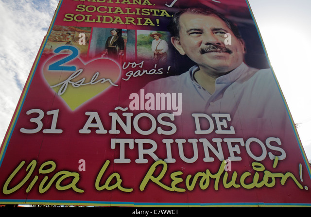 Managua Nicaragua Calle Colon political billboard Daniel Ortega President government socialist revolution Sandinista - Stock Image