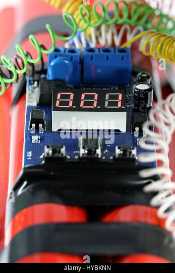 digital countdown timer of a bomb one second before explosion - Stock Image