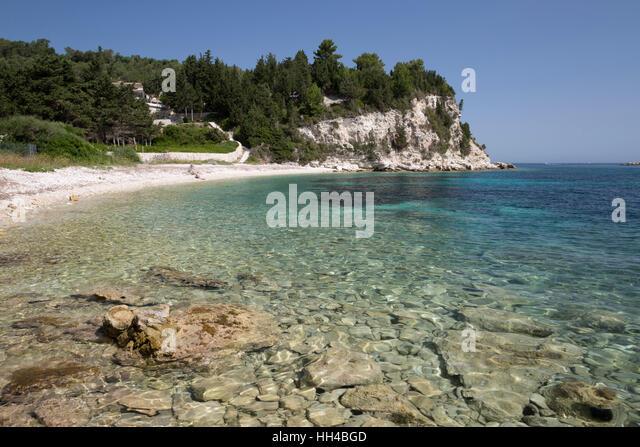 Kipos beach on east coast, Paxos, Ionian Islands, Greek Islands, Greece, Europe - Stock Image