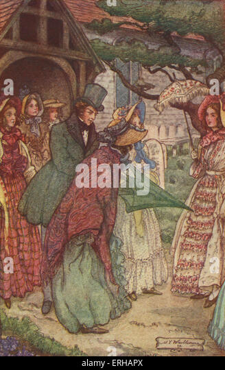 Cranford by Elizabeth Gaskell. Illustrations by M V Wheelhouse (1895-1933). Caption reads: On coming out of church - Stock Image