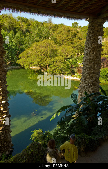 Japanese Tea Gardens San Antonio Tx Texas lily pond and trees seen from above through pagoda window - Stock Image