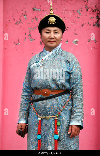 Mongolia portrait of Mongolian woman - Stock Image
