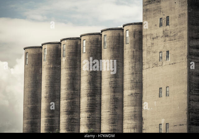Exterior of old industrial building. Concrete architecture. Abandoned factory. - Stock-Bilder