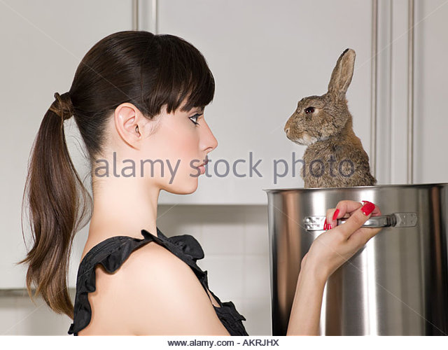 Woman holding a rabbit in a saucepan - Stock Image
