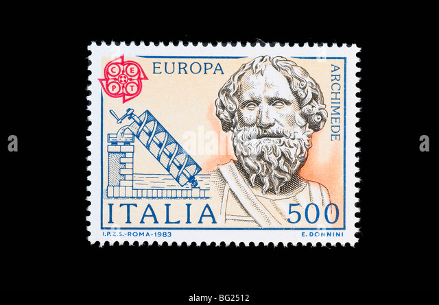 Archimede inventor in a 1983  italian stamp - Stock Image