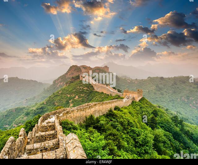 Great Wall of China at the Jinshanling section. - Stock Image