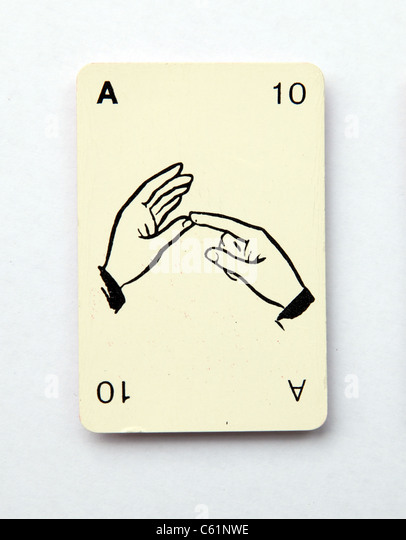 The letter a spelt on an old playing card from the 1960s,  'Kan-U-Go' - Stock-Bilder
