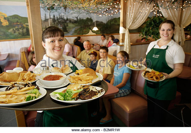 Indiana Kouts Joy's Family Restaurant comfort food platter woman women waitress serve job steak vegetables cheeseburger - Stock Image