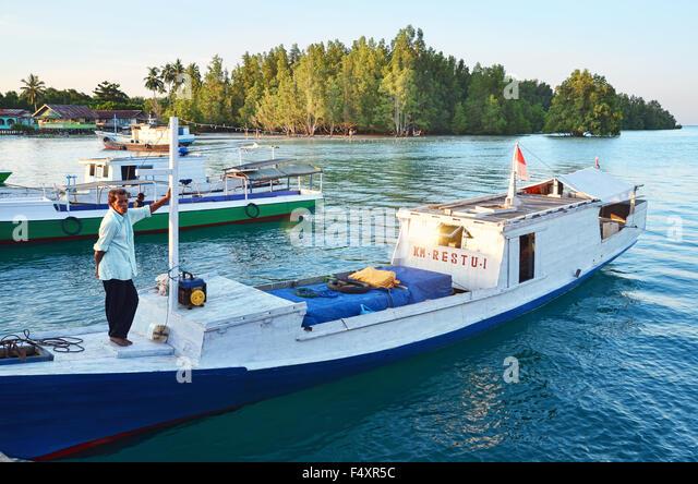 Some boats in Sulaiman Bay, Biduk-Biduk - Stock Image