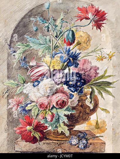 Jan van Huysum, Flower Still Life 1722 Oil on panel. Drawing: black chalk, pen, ink, watercolor. Albertina, Vienna, - Stock-Bilder