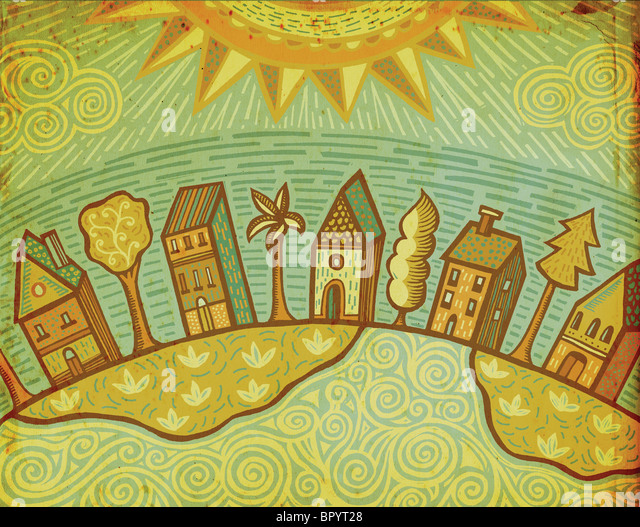 A row of houses with trees in between - Stock-Bilder