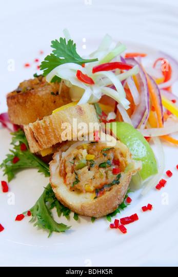Shimla Pinks Indian Restaurant, food is stuffed potato - Stock Image