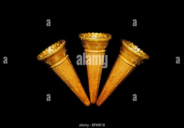 Three ice cream cones - Stock Image