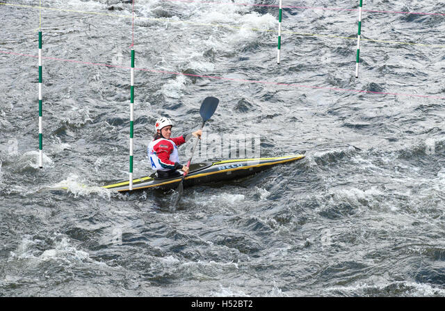British Canoeing slalom competition on the River Wye at Symonds Yat Herefordshire in October 2016 - Stock Image