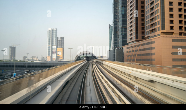 Metro track to downtown Dubai, United Arab Emirates - Stock Image