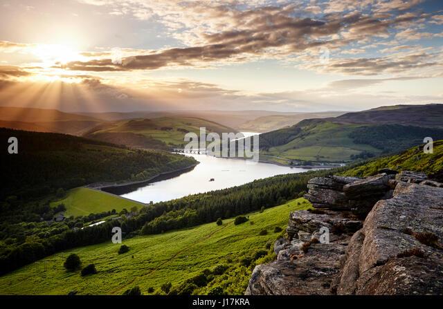 Ladybower Reservoir at sunset, taken from Bamford Edge in the Peak District. - Stock Image
