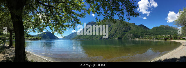 Italian Lakes - Panoramic view of Lake Lugano at Porlezza in northern Italy. - Stock Image