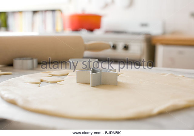Cookie dough and pastry cutters - Stock Image