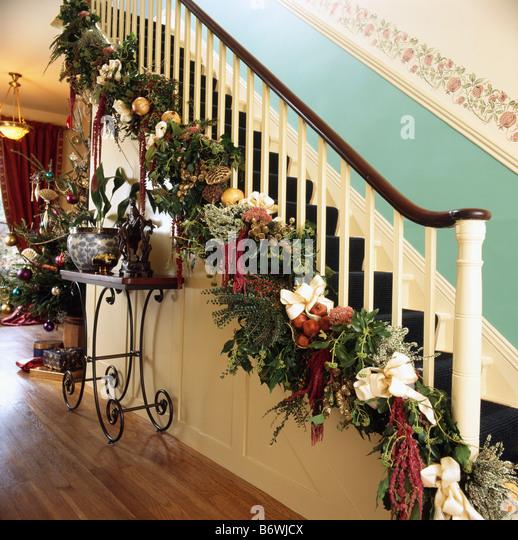 Christmas garland staircase stock photos christmas for Fresh garland on banister