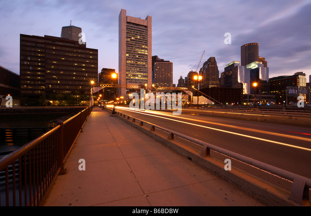 Early morning view of Boston s financial district - Stock Image