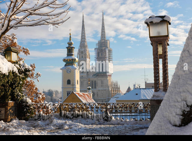 Zagreb Cathedral winter - Stock Image
