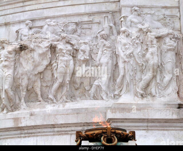 eternal flame  at the Monumento Nazionale a Vittorio Emanuele II or 'Il Vittoriano' is a monument in Rome - Stock Image