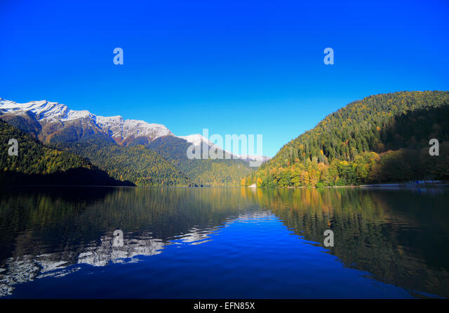 Lake Ritsa, Caucasus mountains, Abkhazia, Georgia - Stock Image