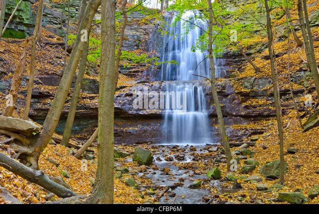 Sherman Falls, Bruce Trail, Niagara Escarpment, Hamilton, Ontario, Canada - Stock Image