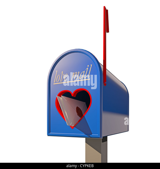 mailbox with heart-shape hole for love mail (3D concept) - Stock Image