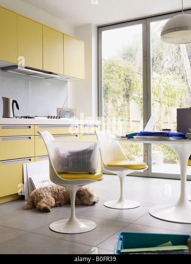 Interior of kitchen with lots of files - Stock Image