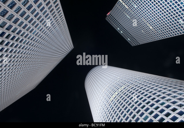 Azrieli skyscraper towers at night in Tel aviv Israel - Stock Image