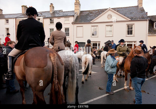 Horses and riders assembled with hunt supporters - Stock Image