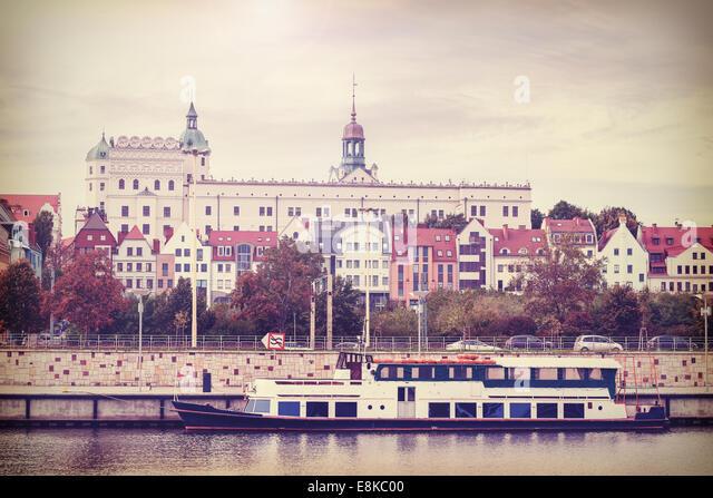 Retro vintage filtered photo of Szczecin riverside view, Poland - Stock Image