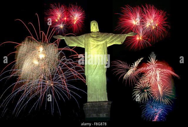 Brasil, Rio de Janeiro,  Corcovado Hill , Christ the Redeemer Statue on top 710m on Mount Corcovado , fireworks, - Stock Image