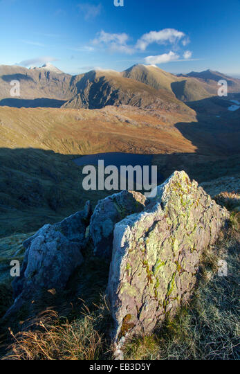 View of Carrauntoohil and the Macgillycuddy's Reeks from Stumpa Duloigh. Black Valley, County Kerry, Ireland. - Stock Image