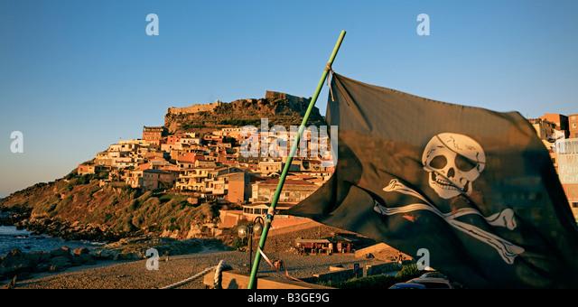 Italy Sardinia Castelsardo village pirate flagg - Stock Image