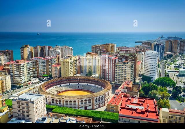 Malaga, Spain cityscape at the bullring. - Stock Image
