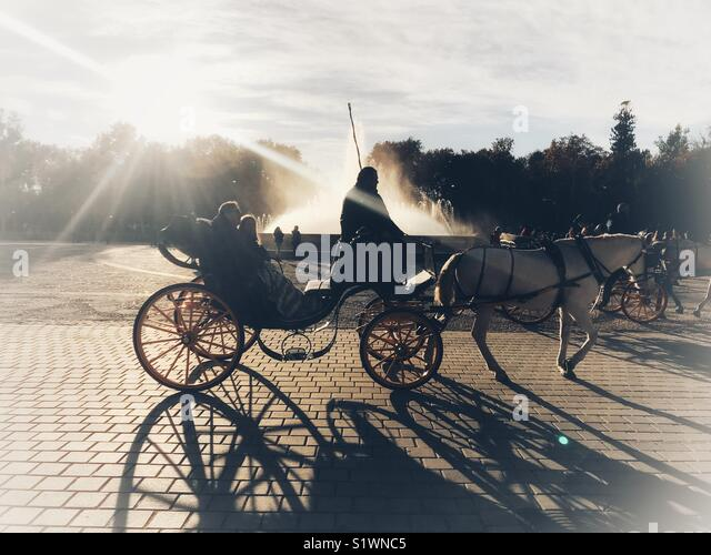 Horse chariot in Seville, Spain - Stock Image
