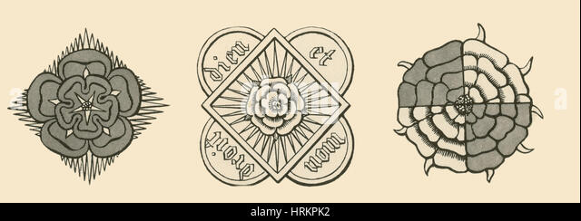 Rose illustrations from Parker's Annales of England - Stock Image