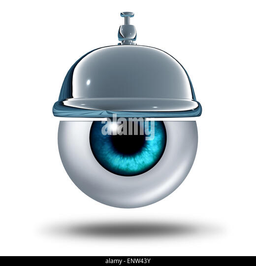Eye health service concept as a human vision organ with a service bell as a healthcare metaphor and diagnosis symbol - Stock Image