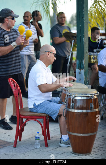 Man playing congas at La Guancha boardwalk. Ponce, Puerto Rico. US territory. Caribbean island. - Stock Image