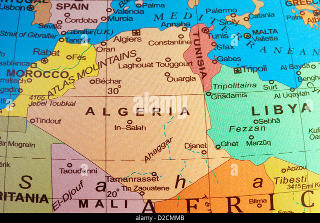 A map of Algeria and north Africa on a globe - Stock Image