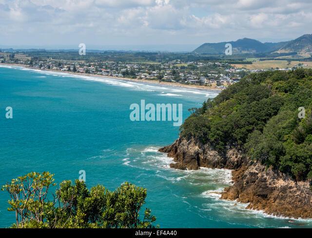 Waihi Beach, near Katikati, Bay of Plenty, New Zealand, taken from Shark Beach, Orokawa Reserve - Stock Image
