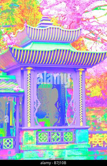 POSTERISED CHINESE PAVILION BIDDULPH GRANGE GARDEN MANIPULATED - Stock Image