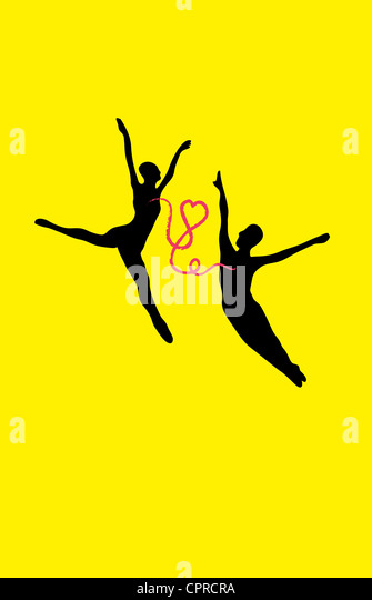 Couple dancing with connected with a heart. - Stock-Bilder